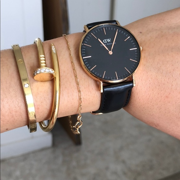 93e9690e999c Daniel Wellington Accessories - Authentic black Daniel Wellington rose gold  watch